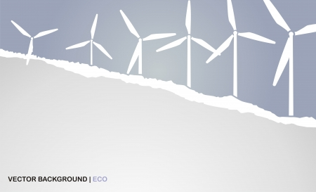 background with torn paper and windmills Stock Vector - 16027887