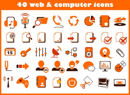 40 web and computer icons Stock Vector - 16885780