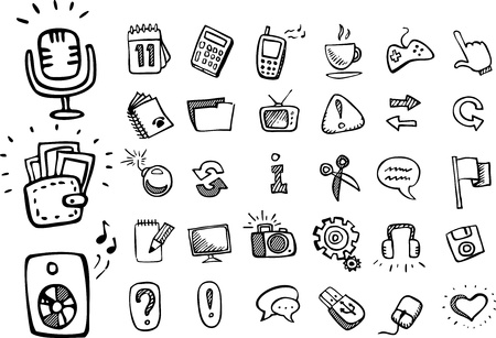 hand pencil: doodle web icons