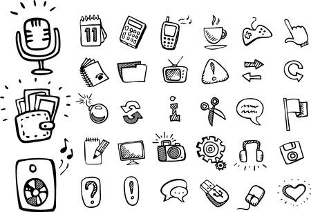 Iconos del doodle web Ilustración de vector
