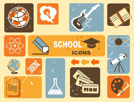 school schedule: education icons Illustration