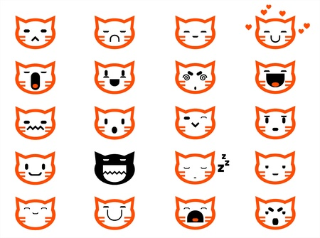Vector icons of smiley cat faces Vector