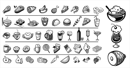 shrimp cocktail: food icons vector collection