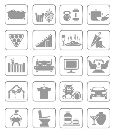 billiards room: interior icons