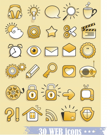 web and media icons Vector