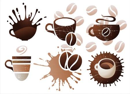 Kopje koffie icons set
