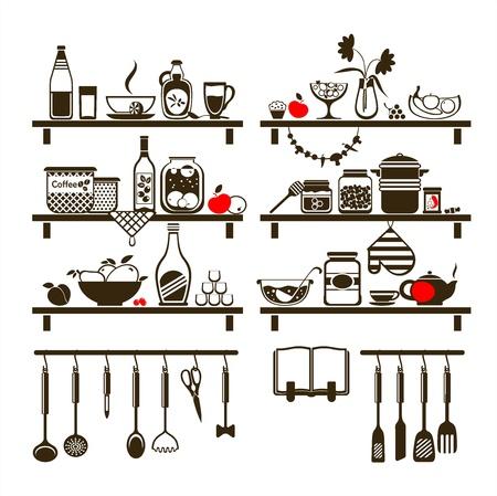 sopa: alimentos y bebidas iconos conjunto, redactado como estantes de la cocina