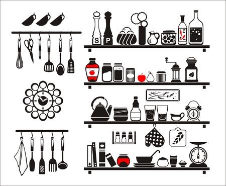 black eten en drinken iconen set, opgesteld als keuken planken