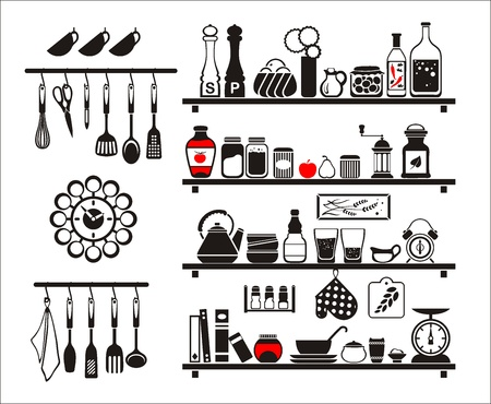 gravy: black food and drinks icons set, drawn up as kitchen shelves Illustration