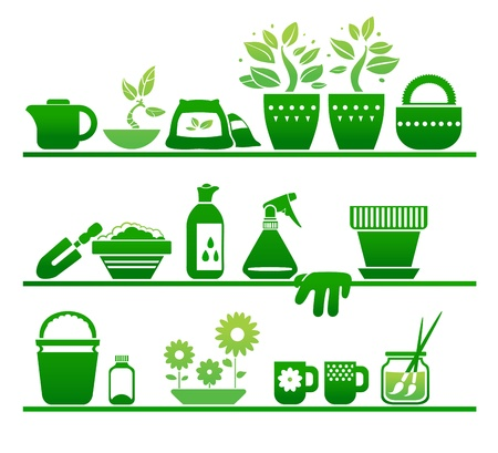 shelves with gardening stuff Vector