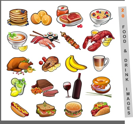 20 food images Stock Vector - 18730971