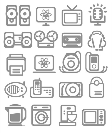 food processor: Media and household appliances Icons in Grey color Illustration