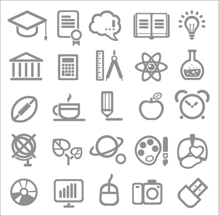 computer education: 25 school and college icons. Education icons set