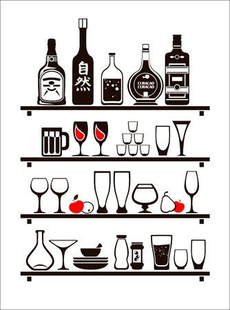 Vector drinks icons set, drawn up as bar shelves Illustration