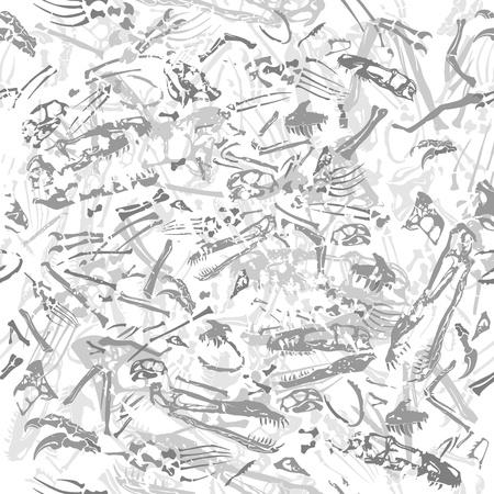 seamless grungy dinosaur bones pattern Vector