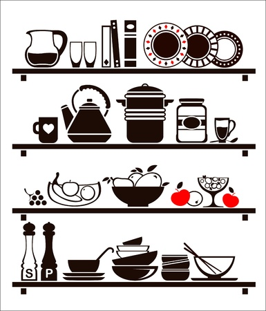 Vector food and drinks icons set, drawn up as kitchen shelves Stock Vector - 19373412