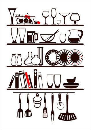 Vector food and drinks icons set, drawn up as kitchen shelves Vector
