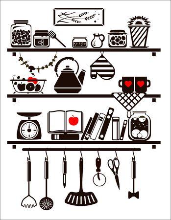 Vector eten en drinken iconen set, opgesteld als keuken planken