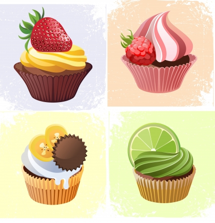 cupcake illustration: colorful cupcakes