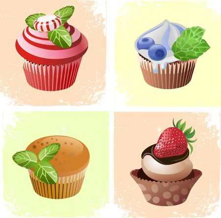 mint candy: colorful cupcakes