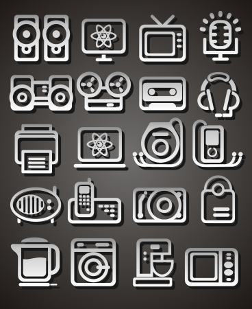 Media and household appliances Icons Stock Vector - 19373421