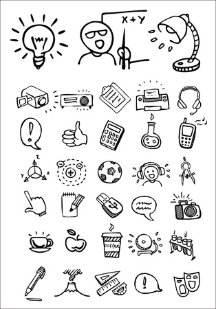 doodle school and college icons Stock Vector - 19373427