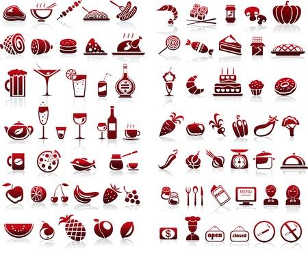 77 食べ物や飲み物のアイコン セット ホワイト バック グラウンド  イラスト・ベクター素材