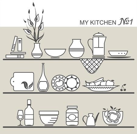 Kitchen utensils on shelves #1