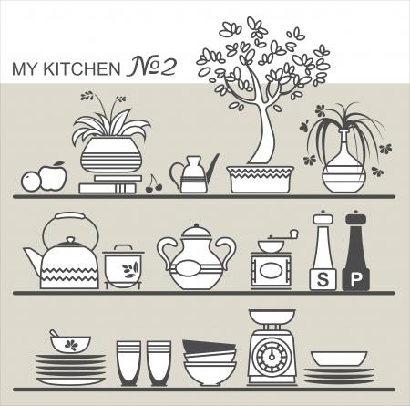 pepper grinder: Kitchen utensils on shelves #2