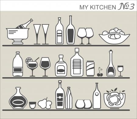 Kitchen utensils on shelves #3 Stock Vector - 20038072