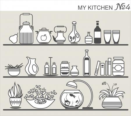 Kitchen utensils on shelves #4