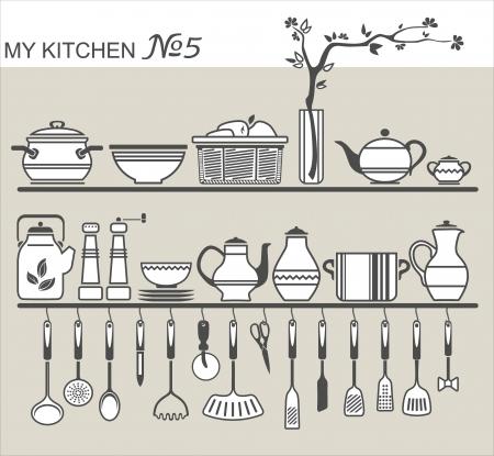 ladle: Kitchen utensils on shelves #5