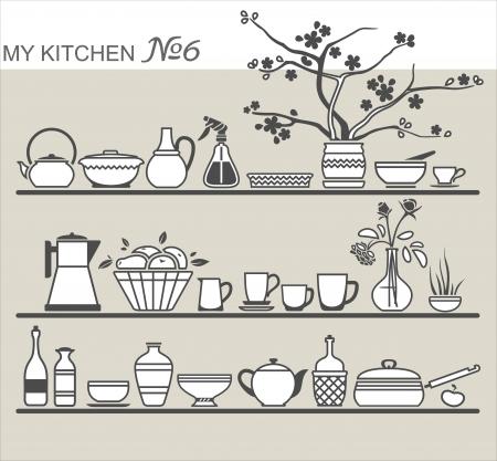 Kitchen utensils on shelves #6 Illustration