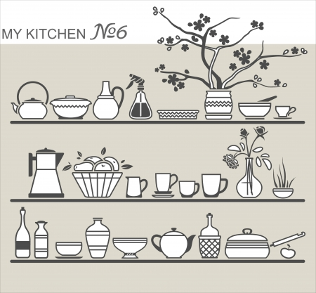 creamer: Kitchen utensils on shelves #6 Illustration