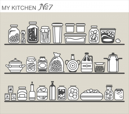Kitchen utensils on shelves #7 Ilustrace