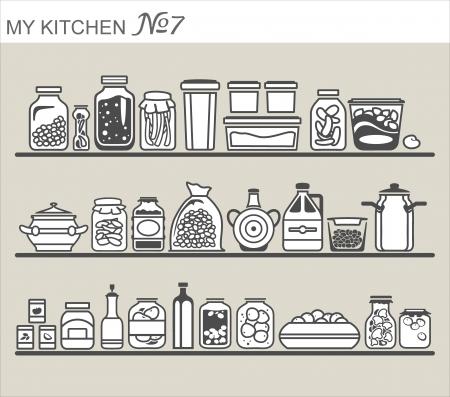 encurtidos: Utensilios de cocina en los estantes # 7
