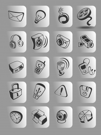 media icons on buttons. Vector illustration. Stock Vector - 20038083
