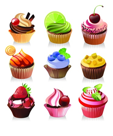 cupcakes isolated: delicious yummy cupcakes, vector illustration