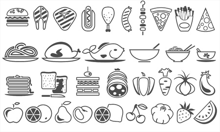 toasted bread: food vector icons