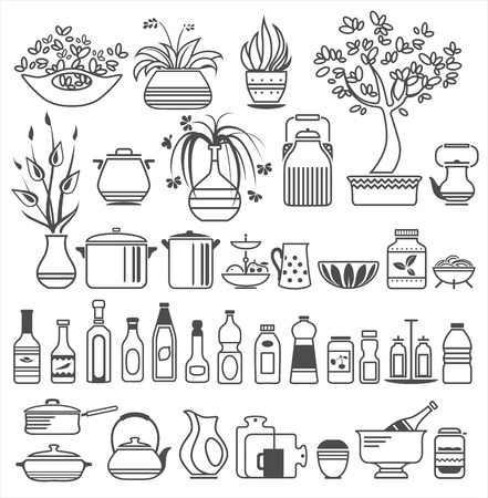 kitchen tools and utensils. Vector illustration Illustration