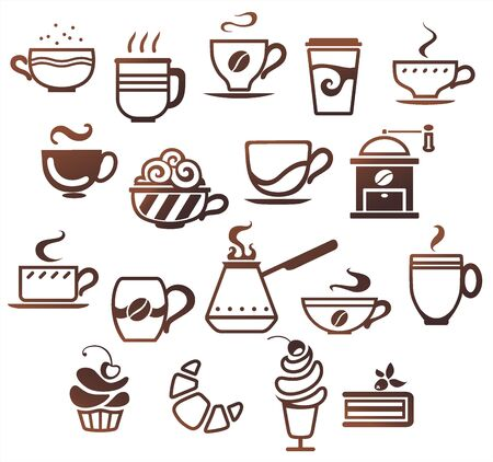 croissant: Coffee and tea cups set. Vector icons collection