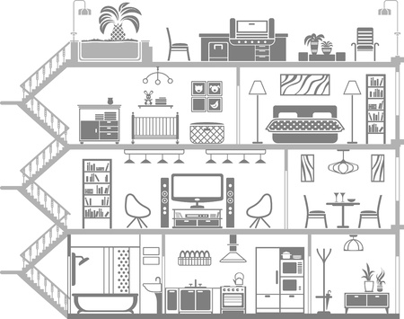 interior design: house interior silhouette. Vector illustration