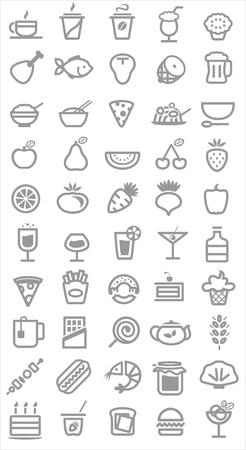 voedsel pictogrammen. Vector illustratie Stock Illustratie