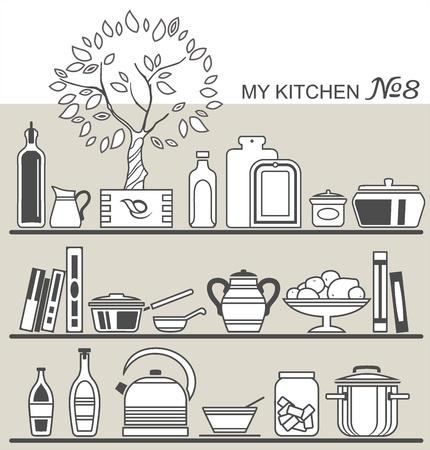 cooking book: Kitchen utensils on shelves  8