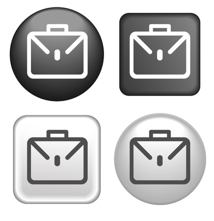Briefcase Icon on Buttons Collection Vector