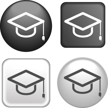 graduation hat: Graduation Cap Icon on Buttons Collection Illustration