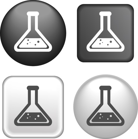 vial: Test Tube Icon on Buttons Collection
