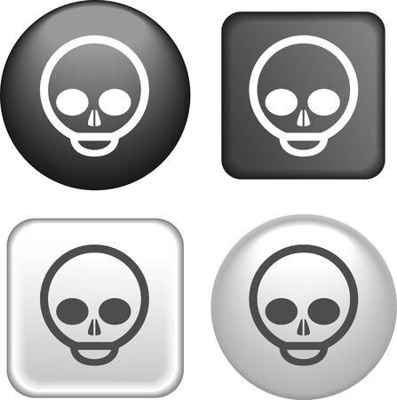 skull icon: Skull Icon on Buttons Collection
