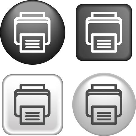 laser printer: Printer Icon on Buttons Collection