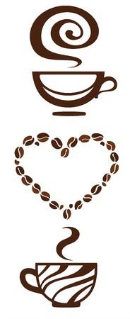 コーヒーカップ: コーヒー カップのアイコン、ベクトル イラスト  イラスト・ベクター素材